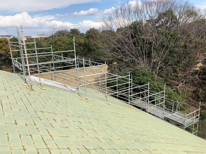 工場内食堂屋根補修用足場 市原市